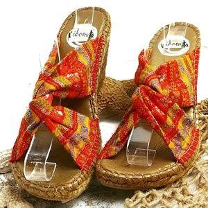 Vidoretta Espadrille Sandals Wedges Orange Size 38